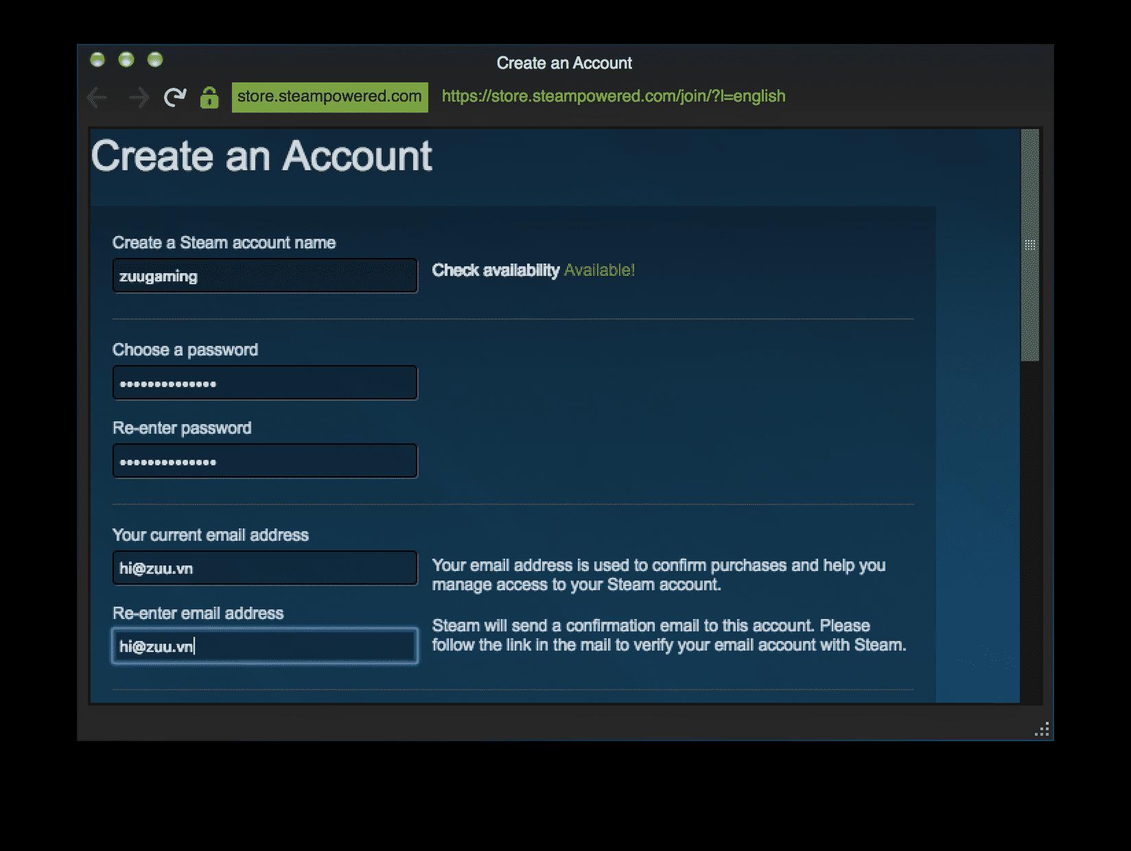 Tạo tài khoản Steam
