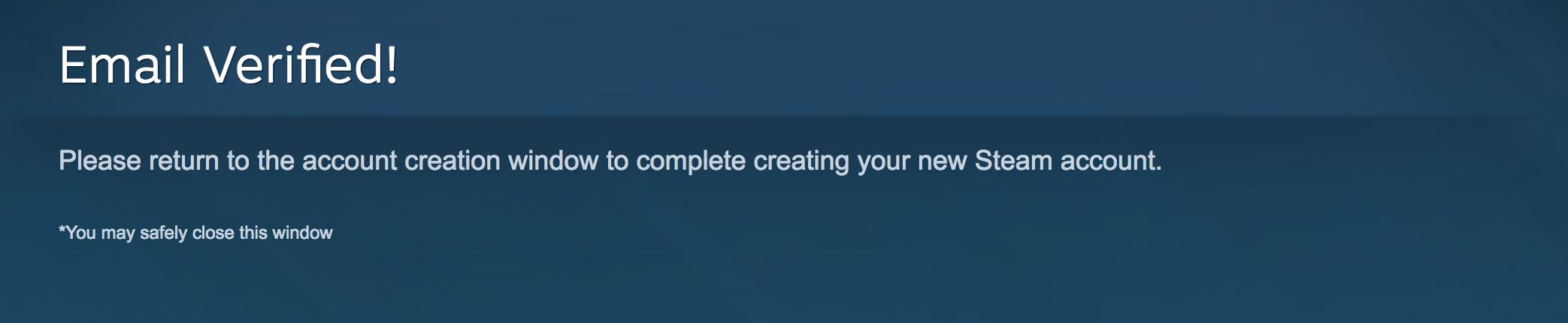 Xác thực thành công tài khoản Steam