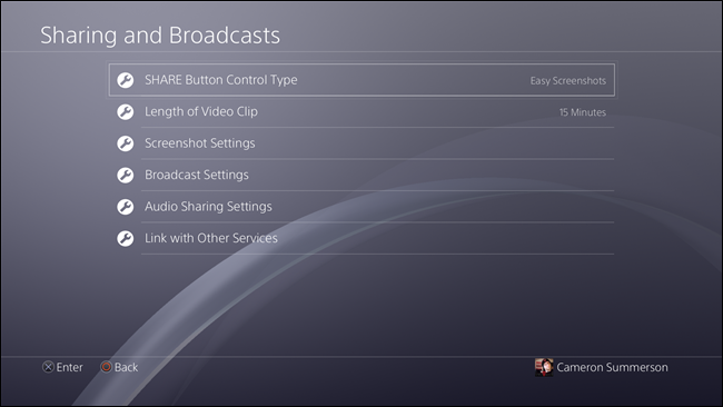 PlayStation 4 Share Button Control Type