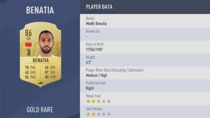 hậu vệ Medhi-Benatia fifa 19