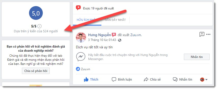 524 đánh giá facebook zuu